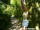 British Babe walking around nude in a park