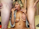 Granny wants both hard dicks in her wet pussy