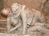 Mud Wrestling Babes Rip Off Bras and Panties