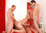 Four bored guys decide to gangbang a blonde grandmother.