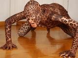 Wild blonde woman leopard