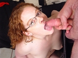 Redhead Roxanna gets a load dumped on her glasses