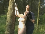 Chubby whore gets tied up in the Woods