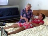Chubby granny gets a good bedroom fuck
