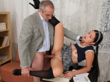 Asian student is loving the attention from her Old Teacher