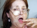 Creamy mature face in groupsex scene