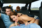 Pickup chick does bj and rides cock in the car